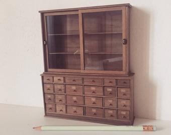 Miniature shop furniture, dollshouse furniture, miniature chest of drawers, miniature shelves, one inch scale furniture furniture