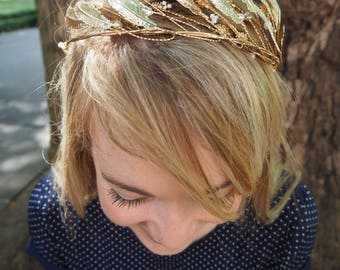 BRIDAL crown TIARA headband HEADPIECE crystal gold leaves metal greek halo wedding bride accessories halo art deco