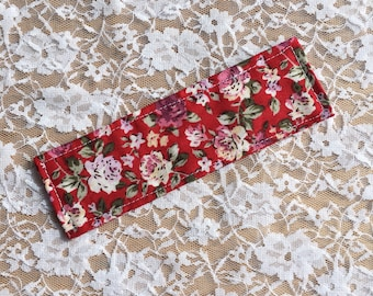 Fabric bookmark, floral, flowers