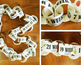 Week by Week Pregnancy, Fruit Pregnany Size, Printable Pregnancy Countdown, Countdown to Baby, Fruit Size, Pregnancy Countdown, Paper Chain