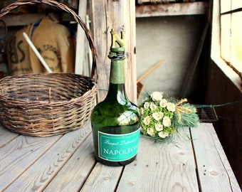 Napoleon Cognac Bottle - Vintage Large Bottle - Vintage Green Bottle and Ceramic Stopper - Cognac Bottle - Bisquit Cognac - Bottle Lamp Base