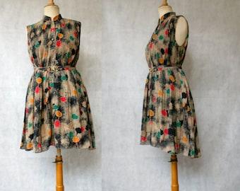 Print 1980s Shirtwaist Dress