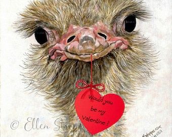 VALENTINES, Valentine Card, ostrich, ostrich decor, bird decor, note cards, Ellen Strope, castteam, home decor, ostrich cards