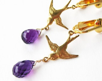 Amethyst Bird Clip-on Earrings, Purple Briolette Gemstone Clipon Earrings, Brass Swallows, Gold Ear Clips, Purple Teardrop, Handmade, Sandra