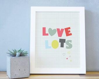 Kids Wall Art Poster Heart Orange Pink Decor Baby Room Framed Art Print White Frame 8x10 16x20 Modern Fun Bold Bright. Love Lots Art Print