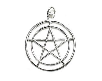 Double Circle Pentagram Pendant - Sterling Silver, Pentacle, Witchcraft, Wiccan pagan, Pentagram star, Witch amulet