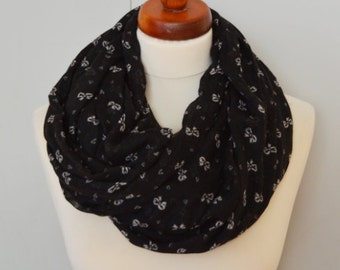 Spring Black Scarf, Black Scarf in mosaic, Long Summer Scarf, Women, Lightweight Scarf, Gift Ideas for Her