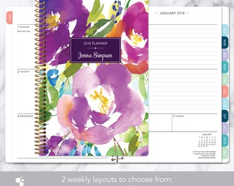 personalized planner 2018 & 2019 calendar | add monthly tabs custom weekly student planner | planner agenda | violet watercolor floral