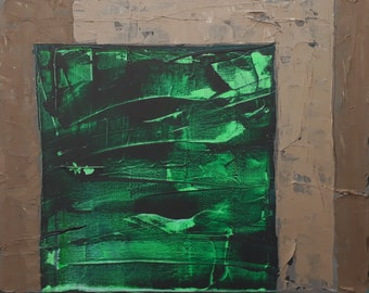 No27 Light And Dark Green With Raw Umber Silver. Acrylic on stretched canvas