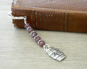 Wine Barrel Bookmark with Solid Purple Glass Beads Silver Color Shepherd Hook Bookmark