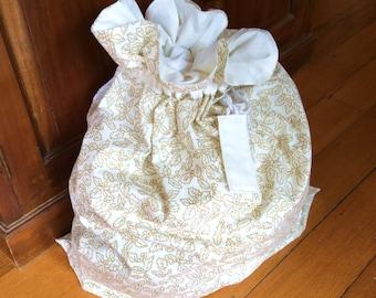 Ivory White & Gold Christmas Santa Sack, Hand Made, Large 54cm x 74cm, Fully Lined