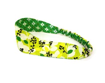 headband green leaves , women's hair band reversible in graphic cotton fabric