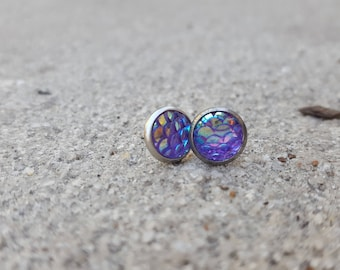 Light Purple Dragon Scale Studs Hypoallergenic Stainless Steel Iridescent Mermaid Scale Fish Scale Earrings
