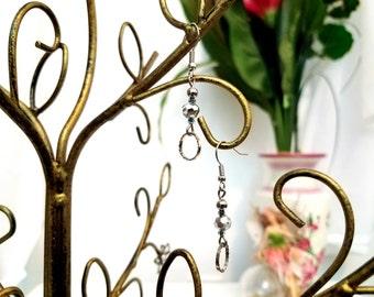 Beaded Wire Earrings by Anne O'Brien Design / Silver Beaded Wire Earrings