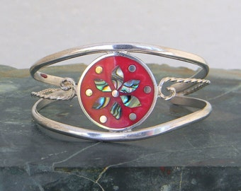 "Mexico Alpaca Silver Red 5-1/8"" Vintage Cuff Bracelet Enamel & Abalone Shell Inlay JJ36"