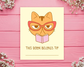 Librarian Cat Printable PDF Bookplates // Cat, book, glasses, library, stickers, digital, download, label, kawaii, cute stationery