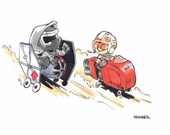 Kylo and Rey Soapbox Derby art print - various sizes