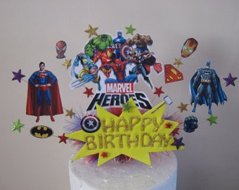 Super hero cake topper with happy birthday sign