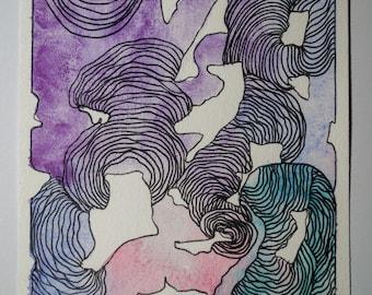Purple Monster (Original Watercolor Painting)