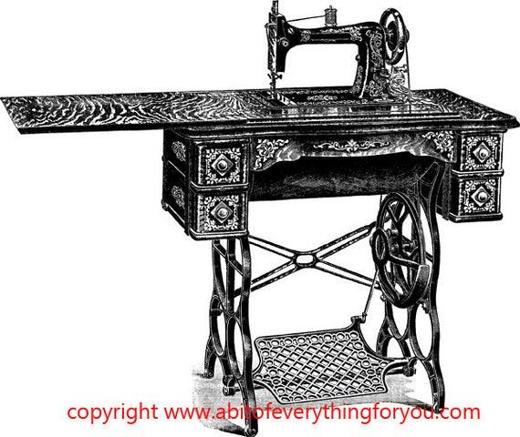 1900s sewing machine vintage illustration printable art clipart png digital download image graphics black and white digital stamp