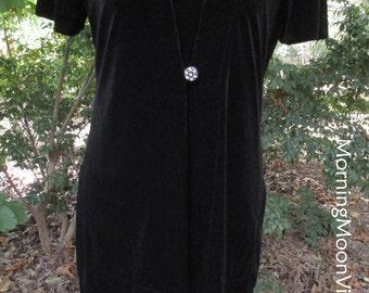 BLACK VELVET MAXI, Vintage 90s Boho Gothic, long velour velvet evening gown, holiday party, witch Stevie Nicks, retro elegant 90s does 30s M