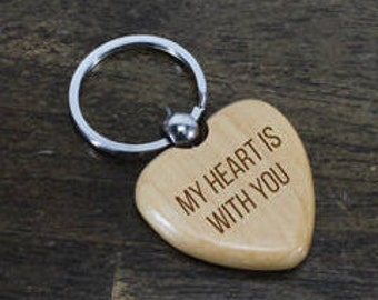 Heart Key Chain/Valentine/Personalized/Wood/Engraved/Gift for her/Anniversary Gift/5th anniversary/My Heart is with you