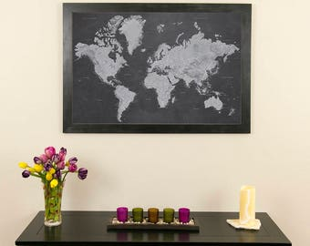 """Stormy Dreams World Push Pin Travel Map with Pins and Frame 24""""x36""""- Push Pin Travel Map - Map your travels - Man Cave Decor - Gifts for Him"""