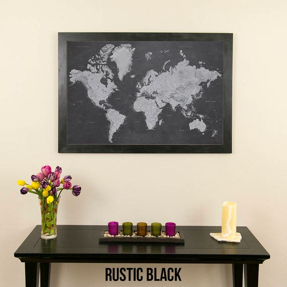 Stormy Dreams World Push Pin Travel Map with Pins and Frame