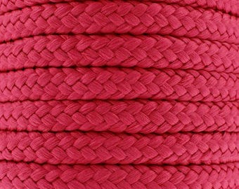 Cotton braided cord / raspberry pink / width 7mm, 50cm cut