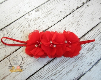 Red Flower Crown Headband with Pearl Rhinestone Soft Chiffon Baby Pink Rhinestones & Pearls Preemie Wedding