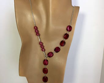 Burgandy Czech Glass Y necklace, lariat necklace, beaded necklace, long necklace, statement necklace, lariat, gifts for her,jewelry,handmade