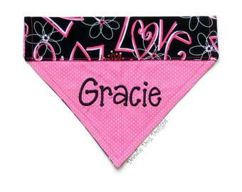 Valentine Dog Bandana, Personalized Dog Bandana, Dog Scarf, Pet Bandana, Over the Collar Dog Bandana, Dog Bandanna, Collar Bandana, Dog Gift