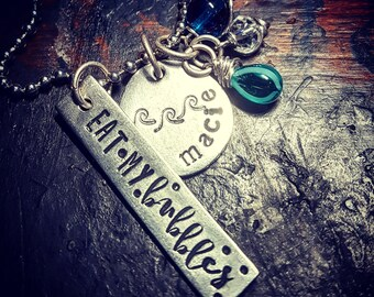 Swimmer necklace; eat my bubbles
