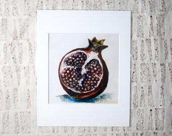 Kitchen Home Decor, Pomegranate Fine Art Print: Oil Painting Print