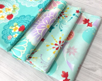 1 x fabric coupon Japanese 50x158cm patchwork bag couture flower Fireworks pastel blue fish