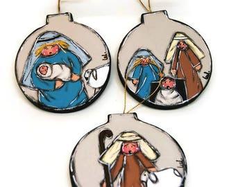 Christmas Balls with Nativity Characters - Ornaments with Nativity Scene - Christmas Decorations with Nativity scene.