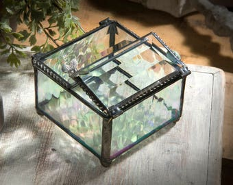 Glass Jewelry Box Glass Box Butterfly Keepsake Box Gift for Her Jewelry Chest Bridesmaid Gifts Stained Glass Vintage Jewelry Box 185