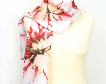 Hand painted silk scarf. Dark red abstract silk scarf. Silk foulard. Wearable art. Special gift for her.