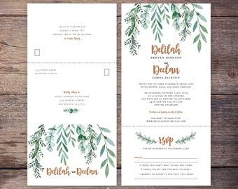 Printable Greenery Seal and Send Wedding Invite, Botanical, Garden Wedding, Send N' Seal Wedding Invitation, All in one invitation - Delilah
