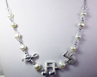 925 Silver Pearl Crystal Music Note Necklace Music Jewelry Musical Note Necklace Treble Clef Necklace Singer Song Writer Gift Best Friend