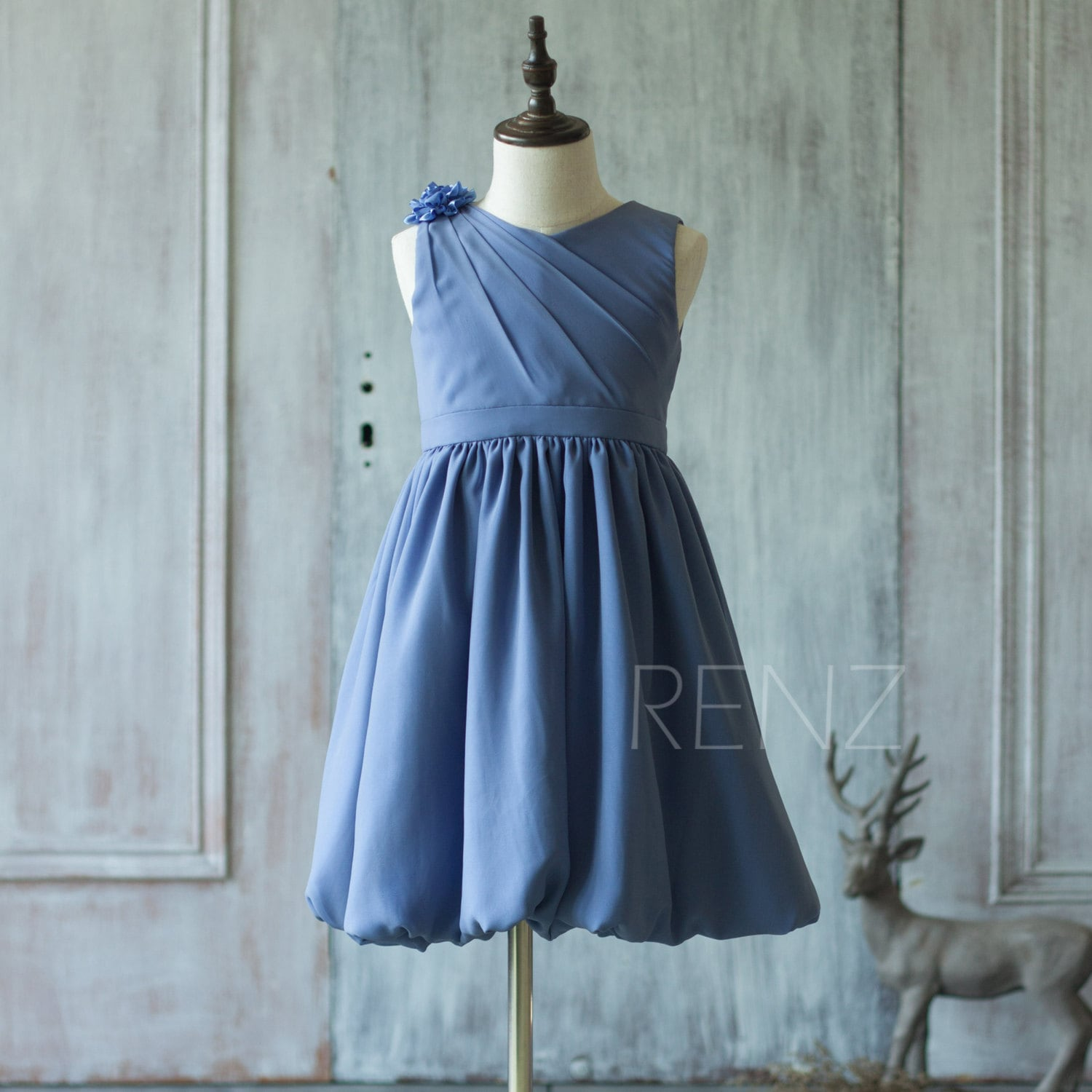 Junior Bridesmaid Dress Steel Blue Flower Girl DressA line