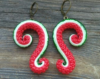 Tentacle earrings, Cthulhu earrings, Octopus earrings, Valentines Day, Watermelon earrings, Polymer clay earrings, Fruit earrings