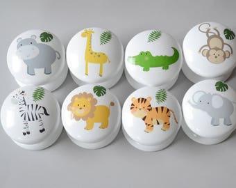 Jungle Animals Drawer Knobs, Drawer Pulls, Dresser Pulls, Children's Room, Nursery Decor, Nursery, Safari, knobs, Kids Knobs.