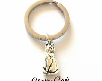Silver Cat Keychain - Silver Sitting Cat Keychain - Cat Jewelry - Cat Charm- Key Accessories