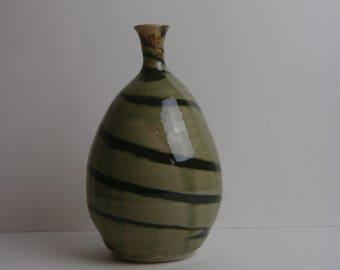 Black and Celadon High Fire Porcelain Bottle