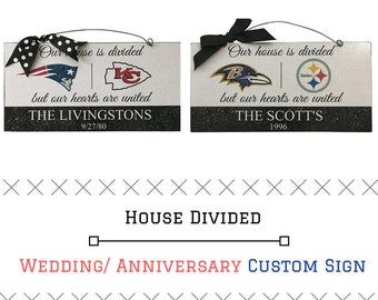 NFL House Divided Sign, House Divided Hearts United Door Hanger, NFL Divided Sign, Anniversary Sign, Wedding Sign with Teams, NFL Wedding