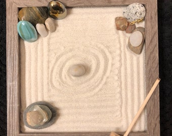 Mini zen garden DIY wood grain