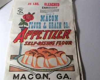 Macon Flour & Grain Co Unused 25lb Cloth Flour bag