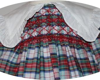 VTG Polly Flinders Plaid Red Green Blue Hand Smocked Embroidered White Ruffled Collar and Hemline - Toddler Girl Dress - 3T
