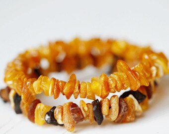 Amber bracelet / Boho Bracelets for women / Baltic Amber bracelet / Boho bracelet set / Boho jewelry / Gemstone bracelet / Wife bead jewelry